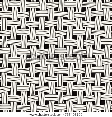 Vector seamless pattern. Monochrome abstract background. Hand drawn intarlaced stripes.