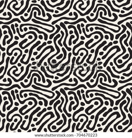 Vector seamless pattern. Monochrome organic shapes. Stylish structure of natural cells. Hand drawn abstract background.