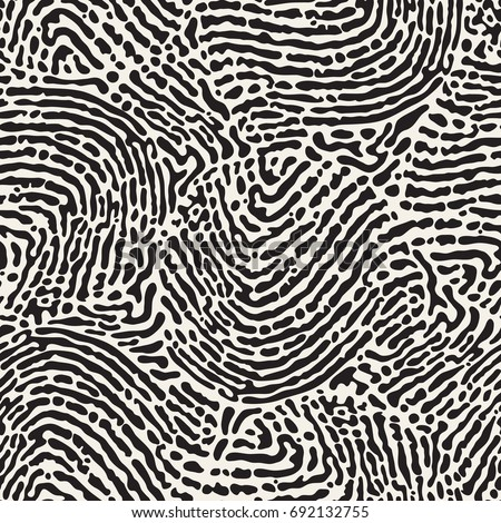 Vector seamless pattern. Monochrome organic shapes. Stylish structure of natural cells reminding fingerprints. Hand drawn abstract background.
