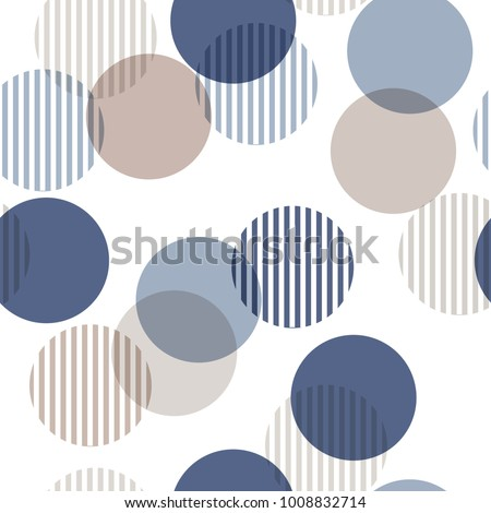 Vector seamless pattern. Monotone blue and beige Abstract background with roundpolka dots mix in stripe. Freshing color texture. Stylish polka dot on white.