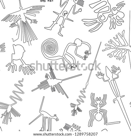 Vector seamless pattern, Nazca lines creatures from Nazca desert in Peru