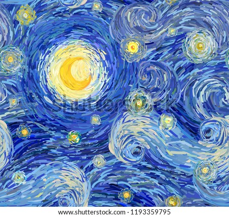 Vector seamless pattern of a night sky with swirly clouds, stars and big glowing moon, in the style of impressionist paintings.