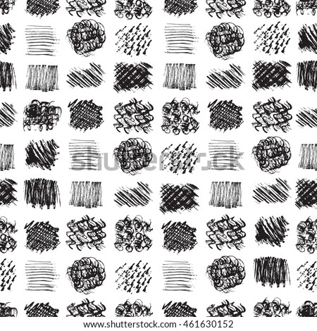 Vector Seamless pattern of abstract hand drawn grunge textures of different shapes.  Dry Paint brush stroke.