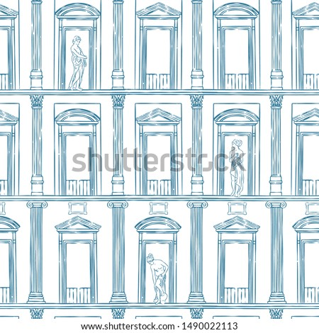 Vector seamless pattern of ancient facade with columns and statues. Repeat drawing of roman and greek classical architecture.