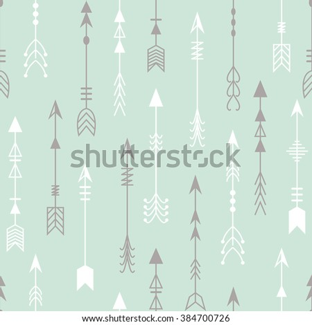 Vector seamless pattern of arrows in the ethnic style.