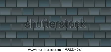 Vector seamless pattern of black roof tile. Dark grey shingles roof texture background. Gray roof tile for house covering. Vector illustration. Asphalt roof shingles.