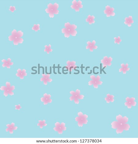 Vector seamless pattern of cherry blossom petals