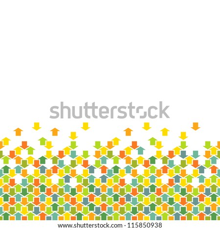 Vector seamless pattern of color arrows. Simple ornamental background with concept of movement, cooperation and concord. Abstract decorative combinatorial illustration with text box for print, web