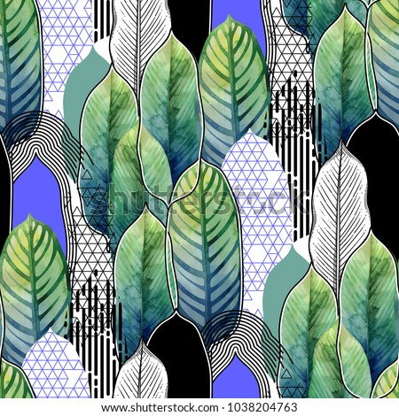 Vector seamless pattern of exotic heliconia leaves drawn in line graphic and watercolor artistic techniques - Shutterstock ID 1038204763