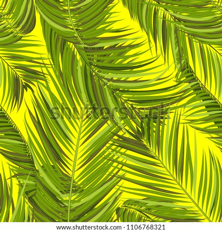 Vector Seamless Pattern of Exotic Palm Leaves. Tropic Summer Background. Realistic Jungle Foliage in Modern Style. Tropic Seamless Pattern for Print, Paper, Cloth Design, Textile, Wallpaper, Wrapping.