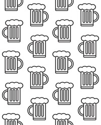 Vector seamless pattern of flat beer isolated on white background