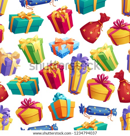 Vector seamless pattern of gifts and presents. Gifts wrapped in color paper with ribbon for holiday or birthday event. Festive endless texture of decorated items in containers for congratulation