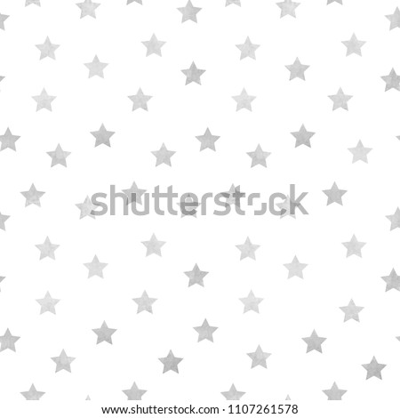 Vector seamless pattern of grey watercolor stars on a white background