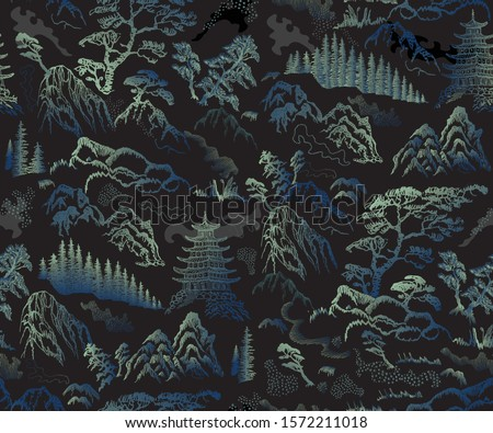 Vector seamless pattern of hand drawn sketches in Japanese and Chinese nature ink illustration sumi-e tradition.Textured fir pine tree, pagoda temple, mountain, river, pond, rock on a black background
