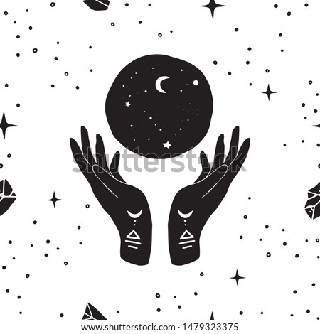 Vector seamless pattern of henna mystic mudra hands, moon and stars. Great for fabric, wrapping paper. Aztec stile, tribal art, ethnic collection, design isolated on white background.