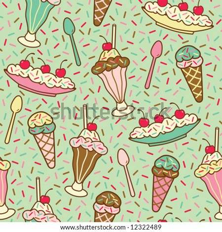 "Vector seamless pattern of ice cream desserts with a ""mint"" background color. Repeat size is 6.3125""."