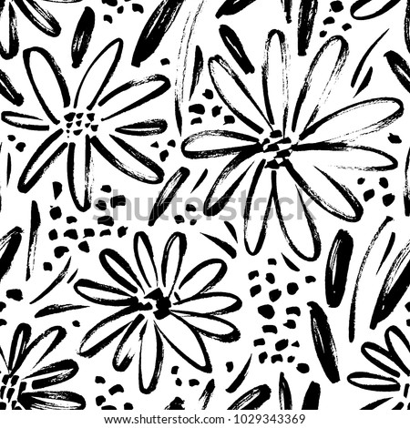 Vector seamless pattern of ink drawing wild plants, herbs and flowers, monochrome botanical illustration, floral elements, hand drawn repeatable background. Artistic backdrop. #1029343369