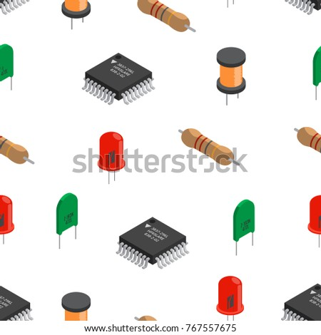 Vector seamless pattern of izometric electronic components. Collection of capacitors, resistors, diodes, transistors, inductors, microchips.