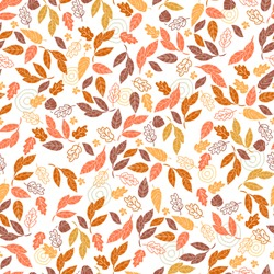 Vector seamless pattern of leaves and flowers. Background for textile or book covers, wallpapers, design, graphic art, printing, hobby, invitation.