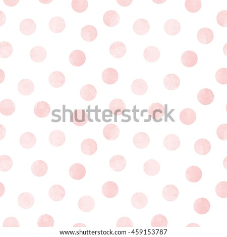 Vector seamless pattern of light pink rose watercolor circles on a white background