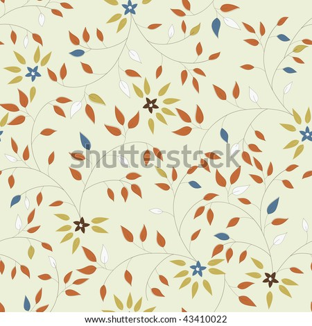 Vector seamless pattern of little flowers and leaves