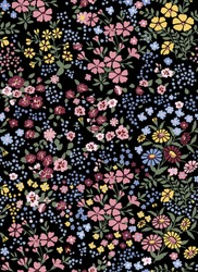 Vector seamless pattern of little flowers on black background, millefleurs, romantic mood. 70s fashion