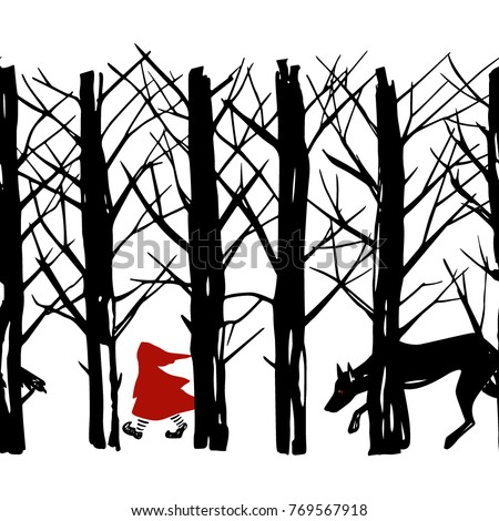 Vector seamless pattern of Little Red Riding Hood fairy tale. The Wolf is chasing the Red Hood in the woods. Ink drawing, gloomy atmosphere. Beautiful illustration of storytelling.