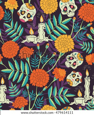 Vector Seamless Pattern Of Mexican Holiday