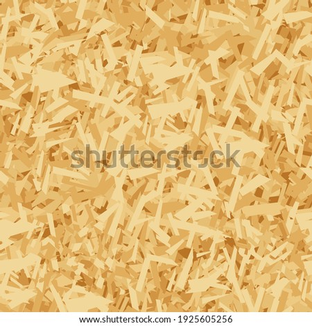 Vector seamless pattern of OSB boards from wood chips. Realistic oriented strand board (OSB) texture background. Vector illustration sheet of plywood with sawdust. Building and construction material. Foto d'archivio ©