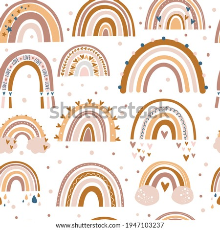 Vector seamless pattern of pastel color in boho style. Rainbow and heart pattern for textile. Digital paper. Stock photo ©