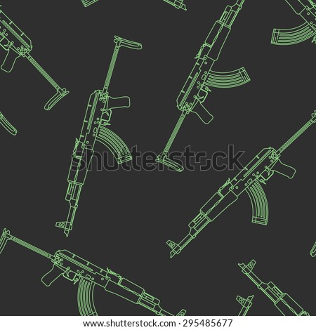 vector seamless pattern of rifle