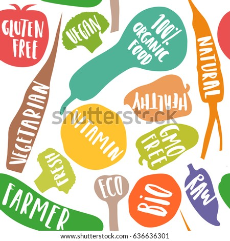 Vector seamless pattern of stylized vegetables with white handwritten lettering. For packaging, advertising of eco, bio, organic, farm food.