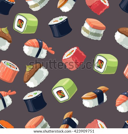 vector seamless pattern of Sushi rolls and japanese sea food. illustration pack with flat color  isolate on dark  background