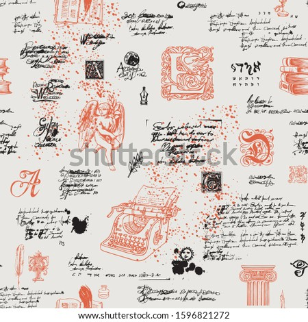 Vector seamless pattern on a writers theme. Suitable for Wallpaper, wrapping paper, fabric. Abstract background with unreadable handwritten notes and hand drawn capital letters, angel, typewriter