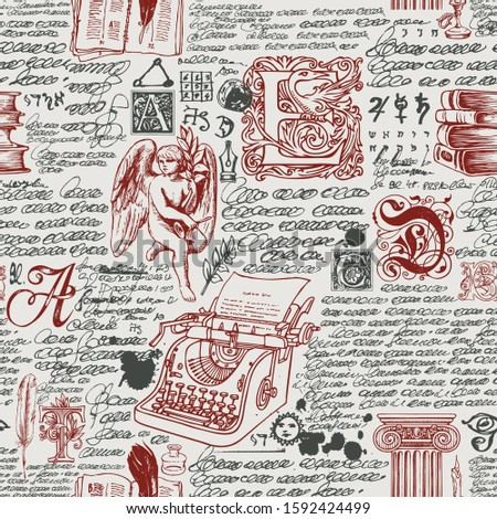 Vector seamless pattern on the theme of writers. Abstract background with illegible handwritten notes and hand drawn angel, typewriter, capital letters. Suitable for Wallpaper, wrapping paper, fabric