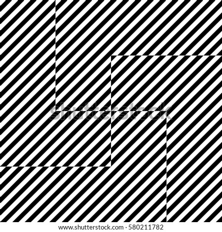 Vector seamless pattern. Optical element, design template with striped black white diagonal inclined lines. Backdrop, texture with swastika by op art. Dynamic tiles for card, app, web cover.