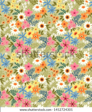 Vector seamless pattern. Pretty pattern in small flower. Small colorful flowers. Pale green background. Ditsy floral background. The elegant template for fashion prints.