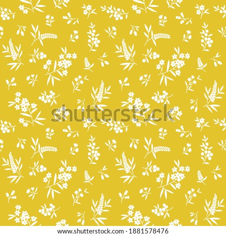 Vector seamless pattern. Pretty pattern in small flowers. Small white flowers. Gold yellow background. Ditsy floral background. The elegant the template for fashion prints. Stock vector.