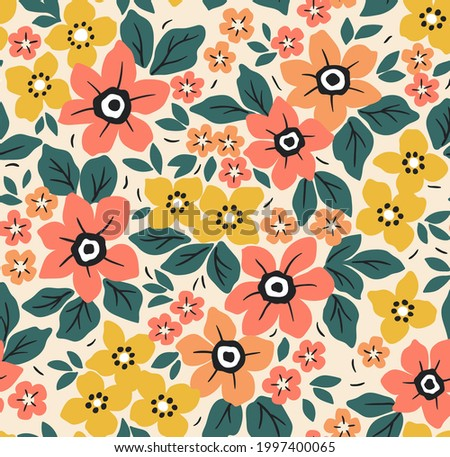 Vector seamless pattern. Pretty pattern in small flowers. Small yellow and orange flowers. White background. Ditsy floral background. The elegant the template for fashion prints. Stock vector.