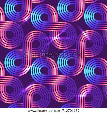 Vector seamless pattern. Regular geometric background. Disco stile.