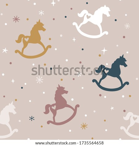 Vector seamless pattern rocking horses and unicorns. Vintage repeated texture with baby toys. Childish print for kids fabric and wrapping paper. Scandinavian style. Simple hand drawn background. Photo stock ©