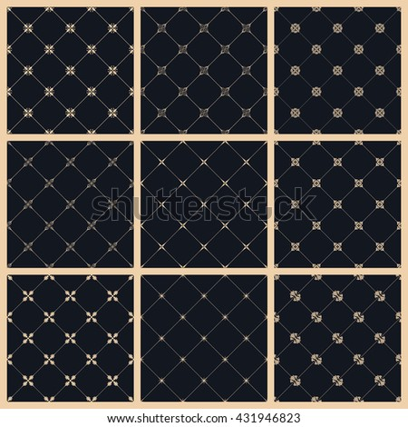 Vector seamless pattern set with art ornament. Vintage elements for design in Victorian style. Ornamental lace tracery background. Ornate floral decor for wallpaper. Endless eastern texture