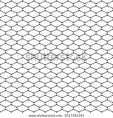 Vector seamless pattern, simple black and white geometric texture, monochrome illustration of mesh, lattice, grid, fishnet, tissue, lace, net. Abstract repeat background. Design element for prints