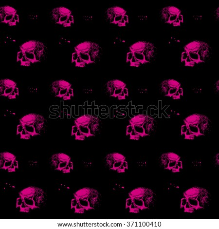 vector seamless pattern skulls