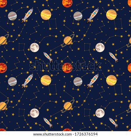 Vector seamless pattern, space colorful illustration, constellations and planets, spaceship rocker, cartoon graphic backdrop, background template. Stock photo ©