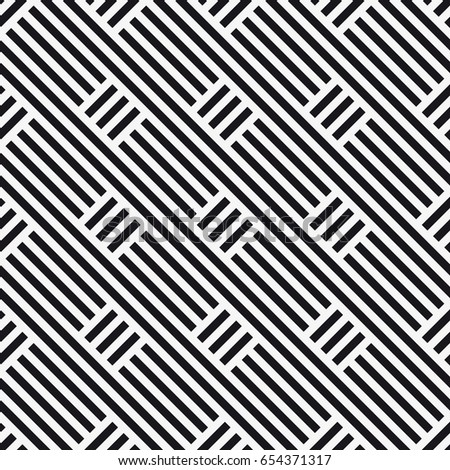Vector seamless pattern. Stylish graphic texture. Endless striped monochrome background with elements.