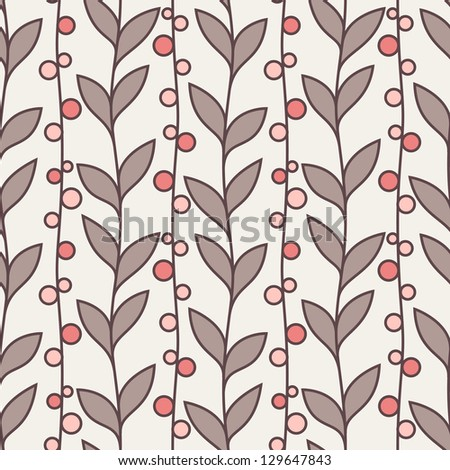 Vector seamless pattern. Stylish texture. Endless floral background. Vertical branches with leaves and berries