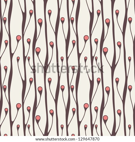 Vector seamless pattern. Stylish texture. Endless floral background with vertical branches and berries - stock vector