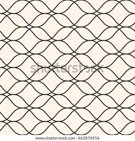 Vector seamless pattern, thin wavy lines. Texture of mesh, lace, weaving, smooth lattice. Subtle monochrome geometric background. Design for prints, fabric, cloth, textile, home decor, furniture, wrap