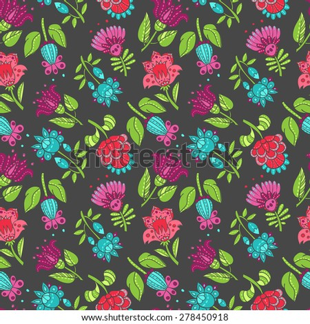 vector seamless pattern wallpaper of flowers